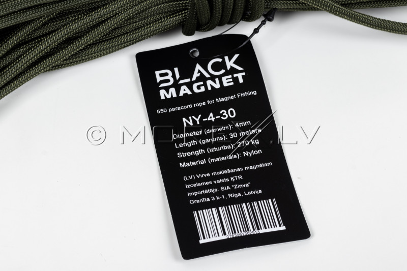 """4 mm x 30 m paracord rope for Search Magnet """"Black Magnet"""""""